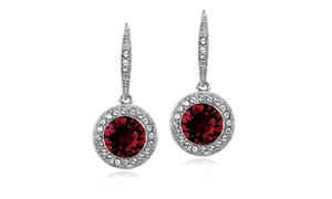 Red & Clear Halo Dangle Lever back Earrings Made with Swarovski Crystals