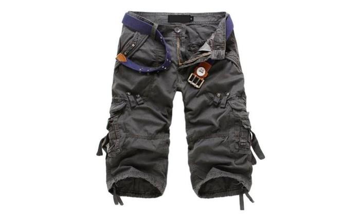 Juanshi Fathers Day Men's Cotton Casual Cargo Short Color Dark Gray