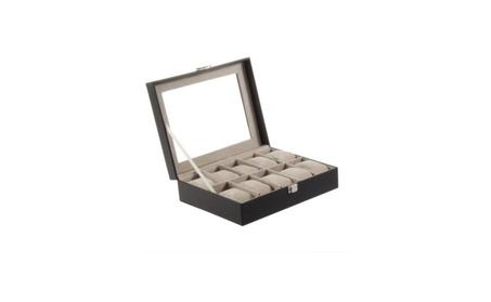 Leather Watch Box Display Case Organizer Glass Top Jewelry Storage ea4dfc17-ea20-4c6c-a85f-0ca474e22c96
