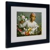 Jean Frederic Bazille 'Woman with Peonies' Matted Black Framed Art