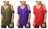 senchoice: Women's Vogue Shoulder Off Wide Hem Design Top Shirt