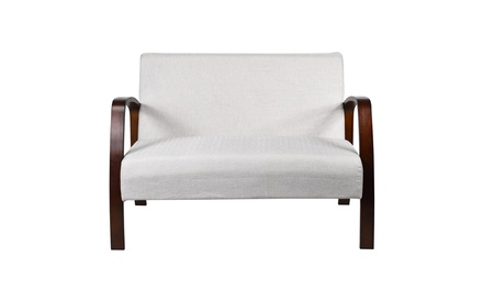 Costway Mid Century Modern Loveseat Fabric Upholstered Armchair 2-Seater Sofa