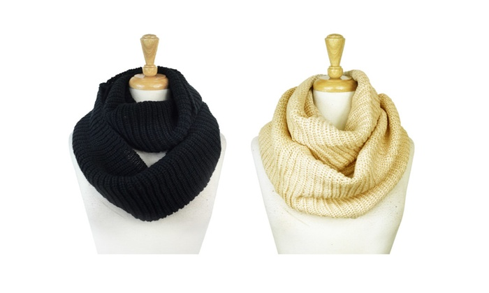 2 Pack of Winter Knit Infinity Scarves Unisex