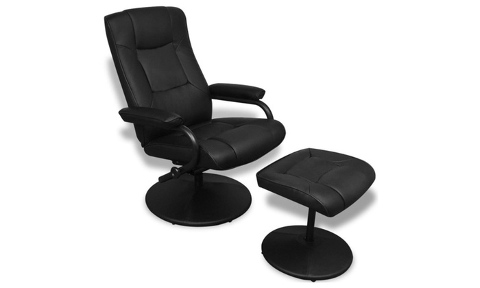 Living Room TV Armchair With Foot Stool   Black | Groupon