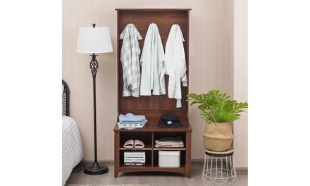 Costway Hall Tree Storage Bench Entry Stand Coat Rack with Shelf & 3 Hooks Brown