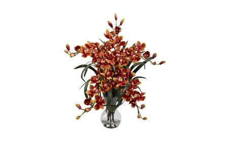 Nearly Natural Large Cymbidium with Vase Arrangement a1caa207-bf0b-4f43-8d99-ae9127680143