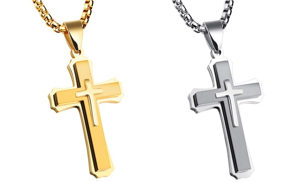 Men/'s Stainless Steel Large Layer Cross Cubic Zirconia Pendant Necklace