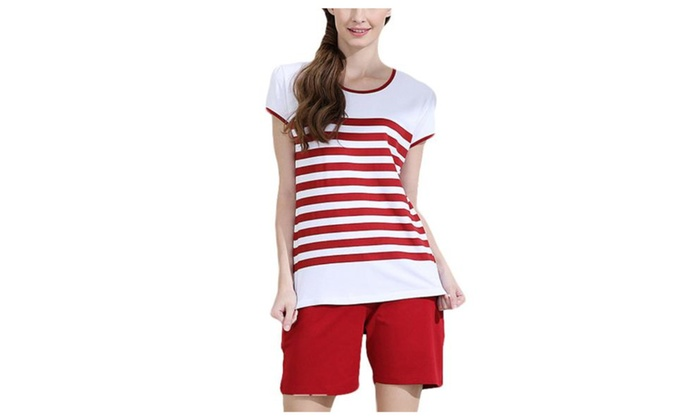 Women's Horizontal Stripes Printed Loose Fit Pajamas Tops