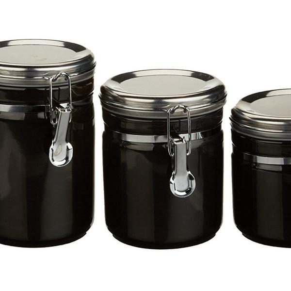 03923MR Anchor Hocking Canister Set Black Ceramic 4pc