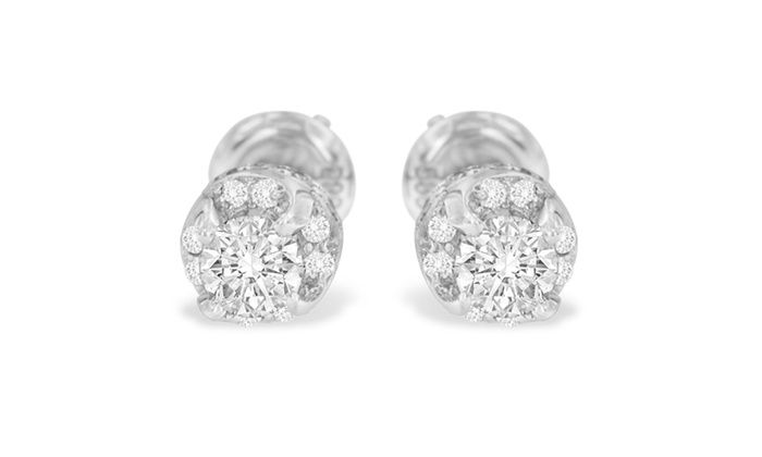 14k White Gold 1ct Tdw Round Cut Diamond Stud Earrings I J I1