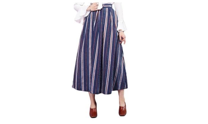 Women's Slim Fit Fashion Printed A Line Scalloped Hem Skirts