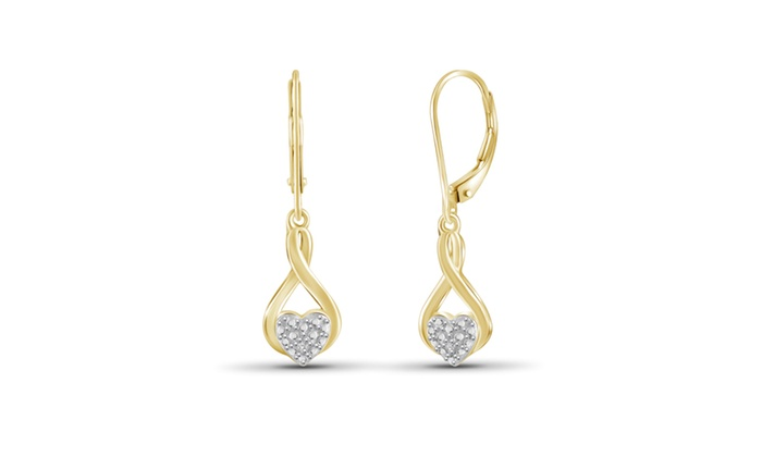 Groupon Goods: Jewelonfire Accent White Diamond Earring in 14K Gold Plated Brass 34829