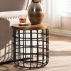 Carie Antique Black Metal Distressed Wood Accent Table
