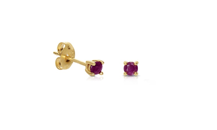 Sterling Silver Genuine Ruby Stud Earrings