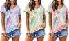 Women's Fashion Gradient Color Tie-Dyed Loose Short-Sleeved T-shirt Top