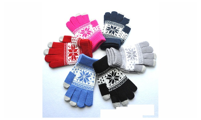 Unisex Touchscreen Gloves Warm Knit Snowflake Winter Gloves