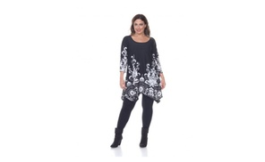 White Mark Universal PS1301-08-3XL Plus Yanette Top & Tunic, Black - 3