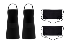 Adjustable Bib or Waist Cotton Aprons with Pockets (2-Pack)