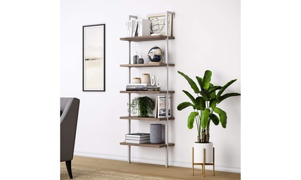 5-Shelf Wood Ladder Bookcase with Metal Frame, Ladder Shelf Wood Shelves