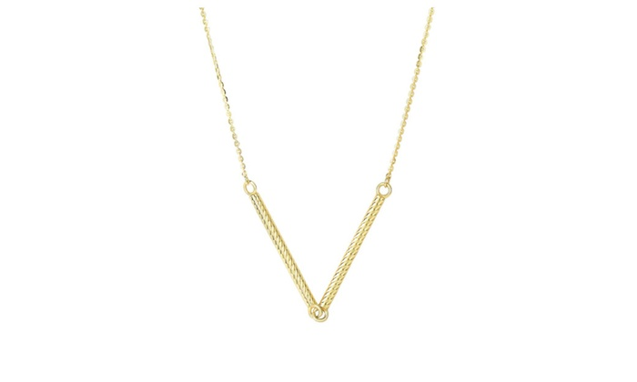"BH 5 STAR: 14kt 18"" Yellow Gold Sideways Cylinder Shape Station on Cable Chain"