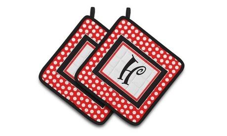 Carolines Treasures CJ1012-HPTHD Letter H Initial Monogram Red Black Polka Dots photo