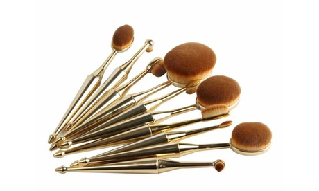Oval Metallic Makeup Brush Set (10-Piece)