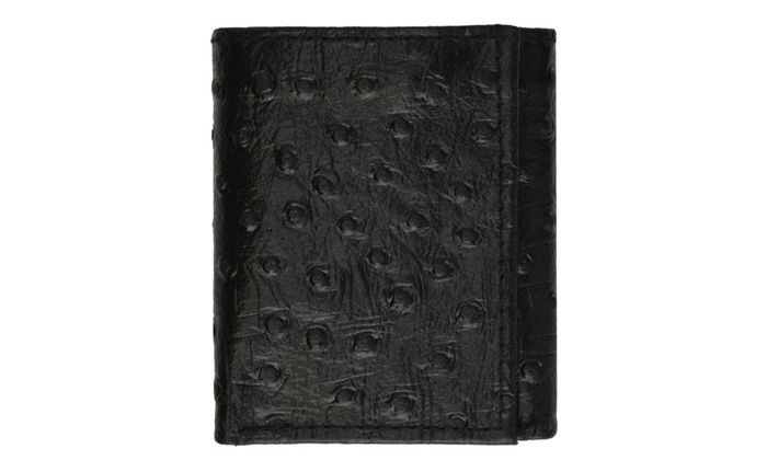 New Genuine Leather Wallet Ostrich Skin Print Trifold wallet