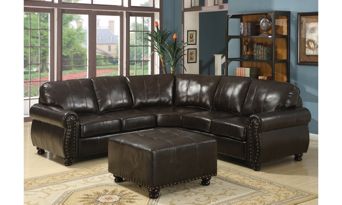... Closeout: Hammond Brown Leather Modern Sectional Sofa