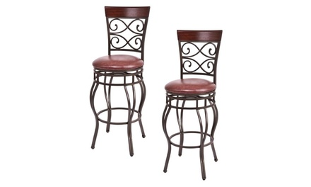 Costway Vintage-Style Bar Stool Set with Swivel Padded Seats (2-Piece)