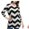 Women's Chevron Pattern Knitted Long Sleeves Relax Fit Tunic Tops