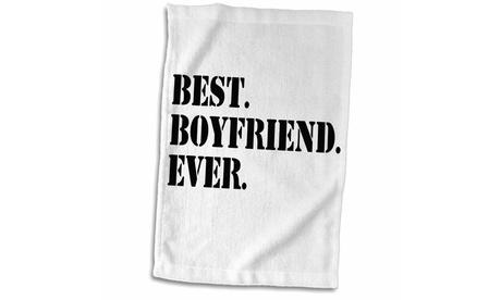 Towel - Best Boyfriend Ever, Gifts for him, Anniversary, Valentines Day, black