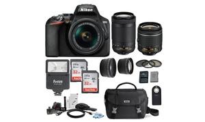 Nikon D3500 DSLR Camera with 18-55 and 70-300mm AF-P DX Lenses and 64GB Bundle
