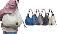 Fashion Women's Multi-pocket Cotton Canvas Handbags Shoulder Bags Totes Purses (SixtyShadesofGrey) photo