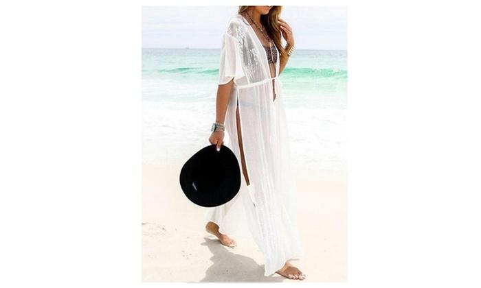 White Lace Chiffon Cover Up Beach Dress