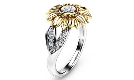 Women Gold Silver Color Cute Sunflower Crystal Wedding Rings
