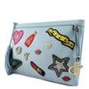 Women's Textured Faux Leather Designer Wappen Clutch Bag AJ102