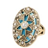 Retro turquoise bohemian crystal female gold-plated music ring
