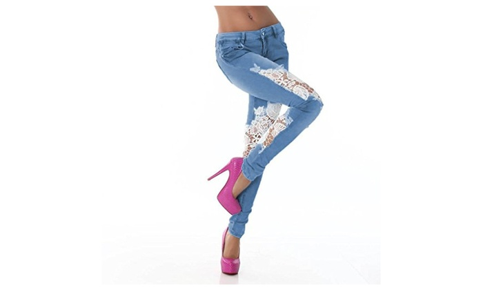 Womens Denim Skinny Jeans Crochet Lace Party Pants