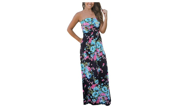 Women's Strapless Vintage Floral Maxi Dress Casual Pockets Long Deress