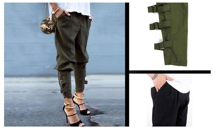 Women's Buckled-Hem Army Green Pockets Harem Pants