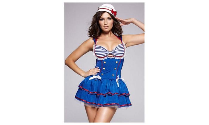 Women's Sassy Sailor Dress Costume - Blue / one size