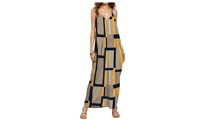 Women's V-neck Printed Spaghetti Strap Sundress Boho Long Maxi Dress