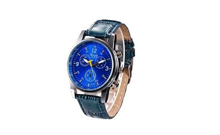 Luxury Fashion Crocodile Blue Faux Leather Mens Analog Wrist Watch 7c71a110-6f96-4590-b1ef-c8d9a527073e