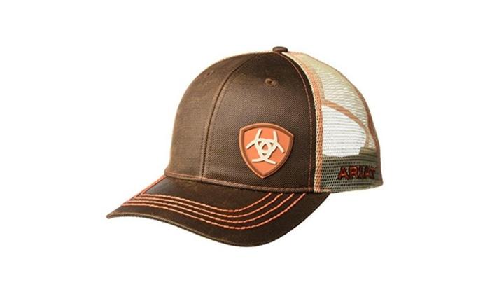 236cfa62 M&F Western Products 1506102 Ariat Mens Snap Back Oilskin Logo Cap