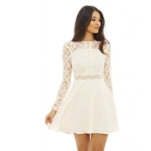 1bca64aaedf4 AX Paris Long Sleeve Lace Skater Prom Dress | Groupon