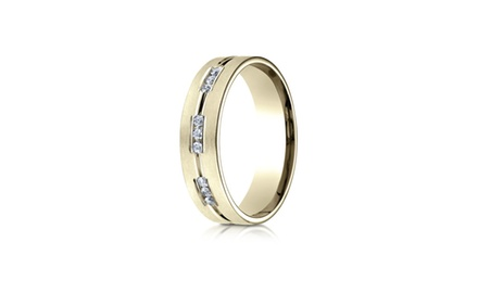 IceCarats Designer Jewelry 14K Yellow Gold 6Mm Etched Channel Set 18-Stone Diamond Eternity Ring (.36Ct) Size 10