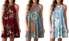 Women's Casual Mini Dress Sleeveless Halter Neck Boho Floral Print Short Dress