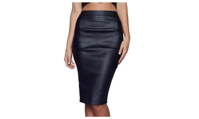 Women's BackZipper Slim Fit Straight Hem Solid Skirts