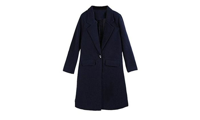 Women's Lapel Worsted Long Trench Coat Casual Jacket Outwear