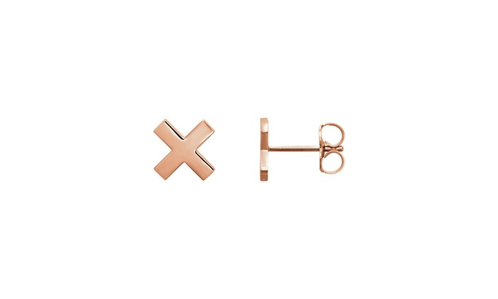 14k Gold Rose X Stud Earrings